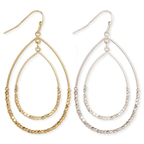 Zen Styles Women's Dewdrops Sparkling Beads Circle Dangle Hoop Earrings with Hook Clasps, 2