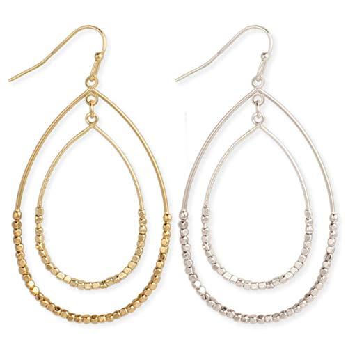 (Zen Styles Women's Dewdrops Sparkling Beads Circle Dangle Hoop Earrings with Hook Clasps, 2