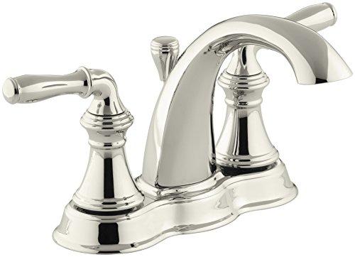 (KOHLER K-393-N4-SN Devonshire Centerset Vibrant Bathroom Sink Faucet, 5.13 x 6.38 x 4.75 inches, Polished Nickel)
