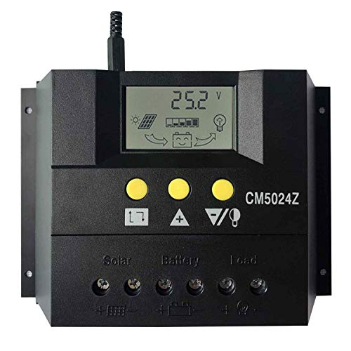 KRXNY 50A PWM Solar Charge Controller 12V 24V Auto Battery Regulator Solar Panel Charging Regulators LCD Monitor Max 50V PV Input