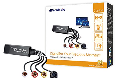AVerMedia EZMaker 7, Standard Definition USB Video Capture Card, Analog to Digital Recorder, RCA Composite, VHS to DVD, S-Video, Cyberlink Media Suite Included, Win 10/MAC (C039) by AVerMedia (Image #2)