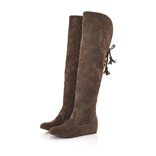 Increased Over Knee Tie Brown The Tassel Warm Boots Womens Bow Boots Xianshu YqXTg