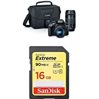 Canon EOS Rebel T6 Digital SLR Camera Kit with EF-S 18-55mm and EF 75-300mm Zoom Lenses (Black) with Free SanDisk Extreme 16GB SDHC UHS-I Card