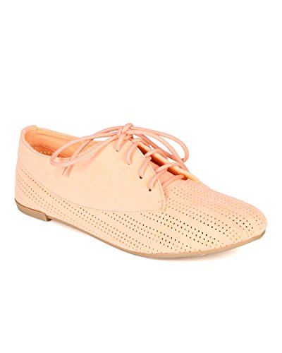 Qupid CC42 Perforated Flat Peach Toe Women Lace Suede Oxford Up Round 1Swq1r7xP
