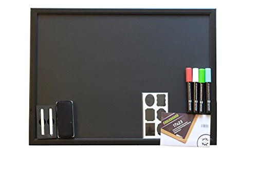 Elegant Wooden Black Matte | 4 Chalk Markers | Magnetic Eraser & Holder, 2 Chalks & 30 Complimentary Chalk Labels | For Kids Bedroom, Restaurants, Bars, Classroom & Office (Eraser Memo Holder)