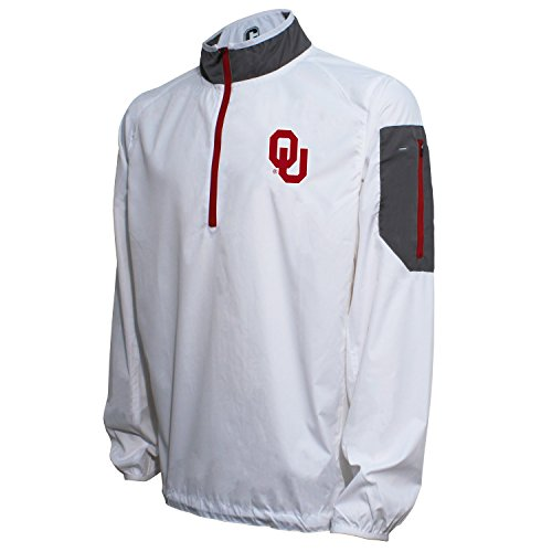 Oklahoma Pullover (Crable NCAA Oklahoma Sooners Men's Lightweight Windbreaker Pullover, Large, White/Cardinal)