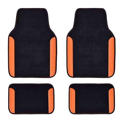 CAR PASS Rainbow Waterproof Universal CAR Floor MATS (Black with Orange)
