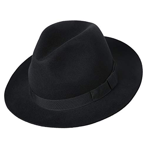 (Deevoov Men's Pure Wool Felt Fedora Outback Trilby Hat Short Brim Cap with Hat Band, Black)