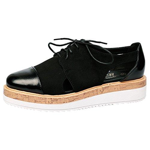 Feet First Fashion Loretta Womens Low Heel Lace Up Flat Black 3 UK/36 - Uk Ups Returns