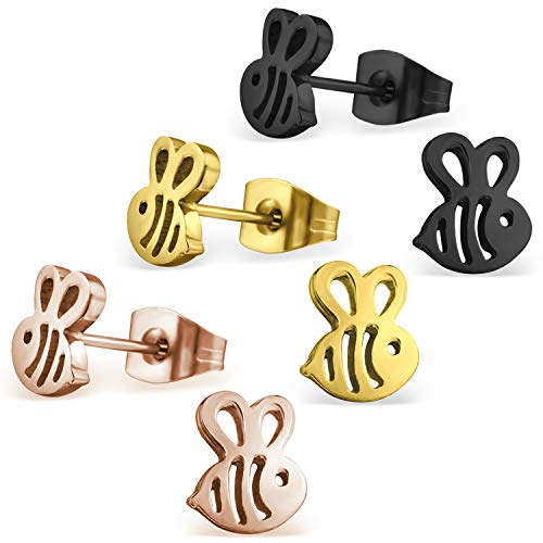 Stainless Steel Tiny Honey Bumble Bee Stud Post Earrings (Black, Gold, Rose) 3-Color Set