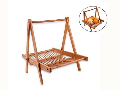 """Fruit Basket,Jaminer Collapsible Bamboo Basket for Fruit and Vegetable Basket Bread Basket Snack Basket Cosmetic Storage Basket with Handle 12"""" x 11"""" x 9"""",Hanging Basket"""