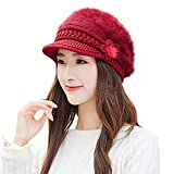 AMSKY Women Winter Warm Floral Cap Knitted Hat Beret Baggy Beanie Hat Slouch Ski Cap