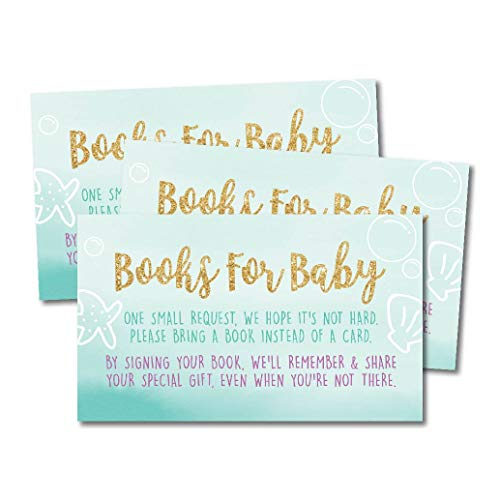 25 Mermaid Books for Baby Request Insert Card for Girl Gold Baby Shower Invitations or invites, Under The Sea Nautical Cute Bring A Book Instead of A Card Theme for -