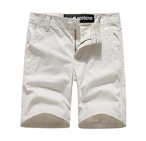 MADHERO Mens Chino Shorts Cotton Twill Flat Front Stretch Shorts Color Beige Size (Cotton Twill Sport Short)
