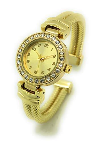 (Ladies Elegant Rope Style Metal Bangle Cuff Fashion Watch Rhinestones (Gold))