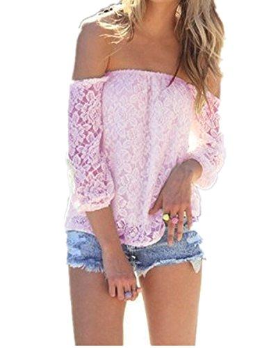 ZANZEA Womens Casual Floral Lace Off Shoulder Tops - 1