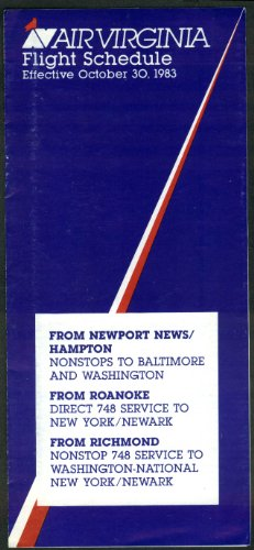 Air Virginia Airline Timetable From 10 30 1983 Newport News Roanoke Richmond