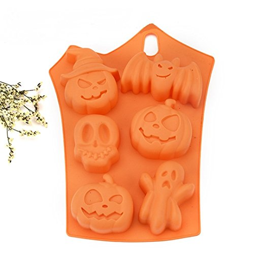 VolksRose 2 Packs Halloween Night Pumpkin Witch Hat Ghost Bats Skull Silicone Mold Fondant DIY Cake Decorating Mold, Cupcake Topper, Jelly, Chocolate, Candy, Polymer Clay Moulds - Random Color -