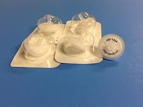 Sterile Syringe Filters, PVDF, 25mm diameter, 0.2um, Individually Packaged, 1...