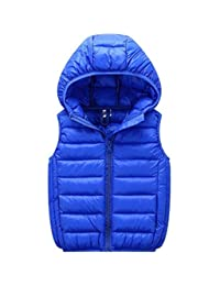 Kids Down Jackets Vest Hooded Sleeveless Waistcoat Winter Warm Puffer Outerwear for Boys and Girls