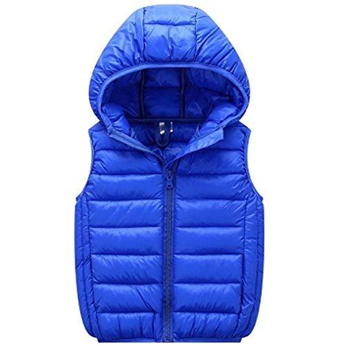 Hooded Winter Vest - LANBAOSI Boys Girls Winter Hooded Puffer Vest Kids Lightweight Sleeveless Jacket Blue