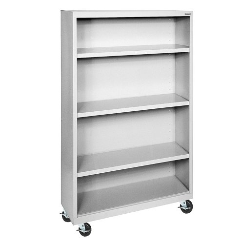 Sandusky Lee BM30361852-05 Dove Gray Steel Mobile Book Case, 3 Adjustable Shelves, 58
