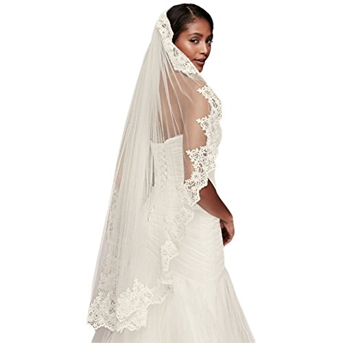 Corded Lace Fingertip Veil with Sequins Style V2012, Ivory by David's Bridal