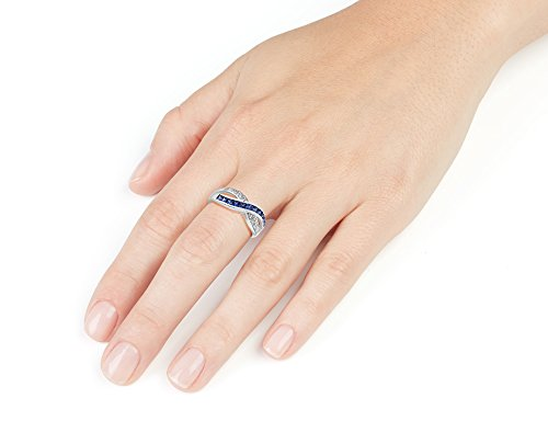 Created Blue Sapphire Infinity Ring with Diamonds 1 2 Carat ctw in 10K White Gold