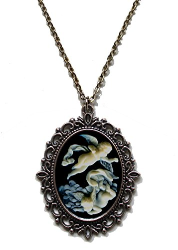 Victorian Vault Angels Steampunk Gothic Pendant Necklace on Chain (Goth Cheshire Cat Costume)