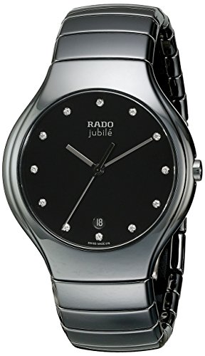 Rado Men's R27653762 True Jubile Analog Display Swiss Quartz Black Watch