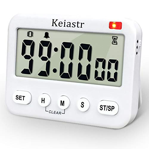 Large Display Digital Kitchen Timer,Countdown up Cooking Timer,24-Hour Clock & Alarm Clock Baking Timer with Vibration/Flashlight,Magnetic,Stand,Battery Included (Larger Display Timer)