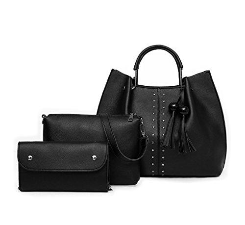 y clutches hombro bolsos Shoppers Carteras Fekete bandolera 3pcs de Bolsos mano Mujer y Set de CwP15x5