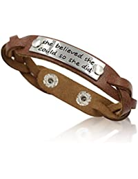 Men's/Women's Inspirational Message Braided Leather Bracelets/Bangles For Sports.