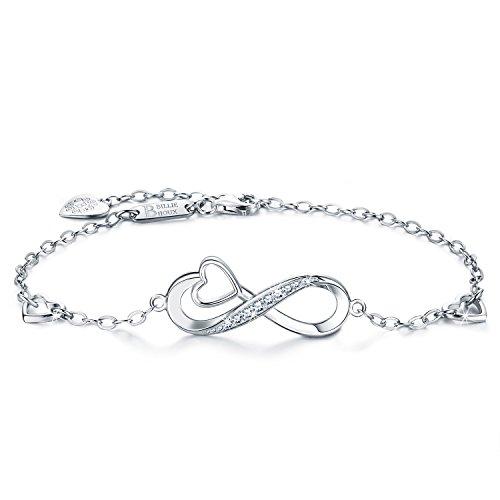 Charm Endless Love (Billie Bijoux 925 Sterling Silver Infinity Heart Endless Love Symbol Charm Adjustable Bracelet White Gold Plated Women' s Gift for Graduation Birthday Valentine's Christmas Day)