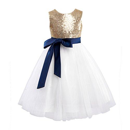 Miama Gold Sequin Ivory Tulle Wedding Flower Girl Dress Junior Bridesmaid Dress by Miama