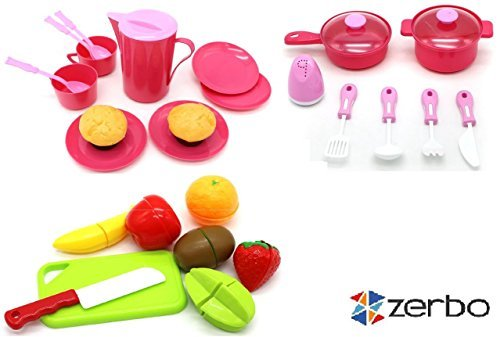 [ZERBO PRETEND Just Like Home Play Mini Kitchen Set Cooking Toys] (Fruit Costumes For Kids)