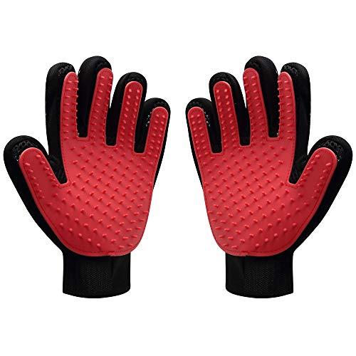 GeiGei Pet Grooming Glove, Deshedding Brush Glove Dog Cat Massage Tool, Hair Remover Mitt, Perfect for Long Short Hair, Red (1 Pair)