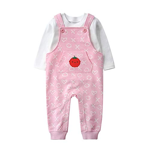 Toddler Unisex-Baby 2-Piece Cotton Overalls and Long Sleeve T-Shirt Clothes Outfits Set (6-12M/73, Pink/Tomato)