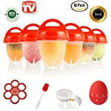 EGGY YO Silicone Hard Boiled Egg Cookers - 6 Egg Cooker Set with Holder and Timer - Boil Eggs Without Shell
