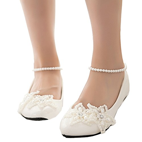Getmorebeauty Women's Mary Jane Flats Pearls Star Across Tops Dress Wedding Shoes 9 B(M) US