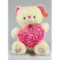 Valentines Day Plush Musical Teddy Ivory Bear with Pink Hearts - 15 Inches by JM Dreamline