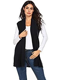 Women's Long Sleeveless Vest Draped Open Front Cardigan Vest with Pocket