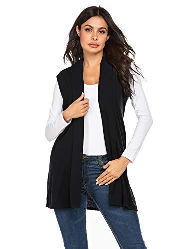 HOTLOOX Women's Long Sleeveless Vest Draped Open Front Cardigan Vest with Pocket