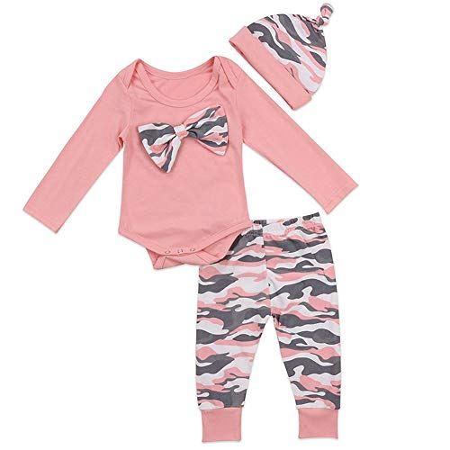 (3pcs Baby Girls Outfits Pink Camouflage Romper Bow top and Pants Set with hat(Size 100,18-24month))