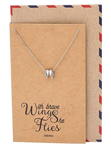 a63a45eae Quan Jewelry Angel Wing Necklace, Dream Graduation Gifts, Guardian Angel  Wing Charm Pendant with