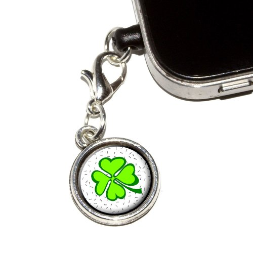 Graphics and More Lots of Luck - Lucky Irish Four Leaf Clover Anti-Dust Plug Universal Earphone Headset Jack Charm for Mobile Phones - 1 Pack - Non-Retail Packaging - Antiqued Silver