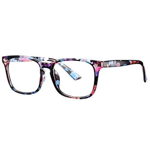 Pro Acme New Wayfarer Non-prescription Glasses Frame Clear Lens Eyeglasses (Floral)