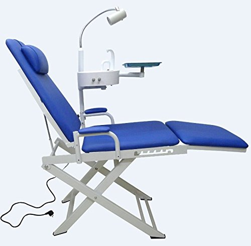 OuboDental Portable Folding Chair Moblie Unit With LED Surgical Light Lamp + Tray +Waste Basin(Deep Blue)