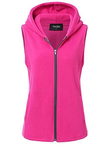 JayJay Women Ultra Soft Fleece Sleeveless Hoodie Vest,Fuchsia,M ()