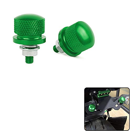 (XX eCommerce Motorcycle Motorbike 1pair Universal M6 License Plate Frame Bolt Refit Screw Nut Caps Knurled ATV Dirt Bike Crusier (Green))